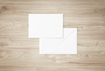White blank envelope mockup and blank letterhead presentation template. Full Isolated.
