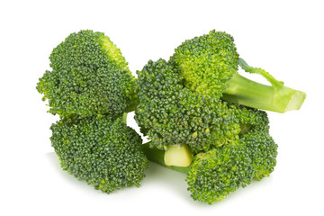broccoli slice. pile. isolated on white background