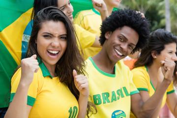 Jubelnde brasilianische Fussball Fans mit Fahne