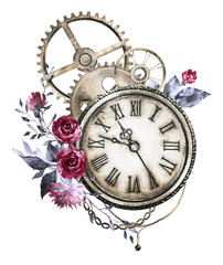 steam punk watercolor Illustration with red roses, wildflowers, clockwork,  jewelry, clock, Flowers. tattoo style. Illustration isolated on white background. Vintage print.
