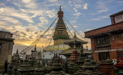 Background of the famous Swayambhunath Stupa stupa with eyes the landmark of Kathmandu valley on new year morning 2018