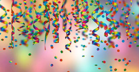 papierschlangen, konfetti, bunter hintergrund