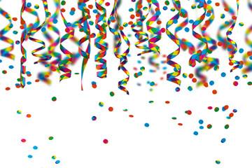 papierschlangen, konfettiregen, partydeko vor weißem hintergrund