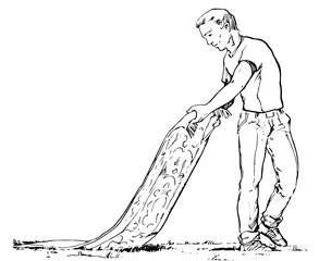 Mann am Teppich