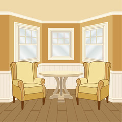 Room interior with round table and classic chairs bay window. Vector illustration.
