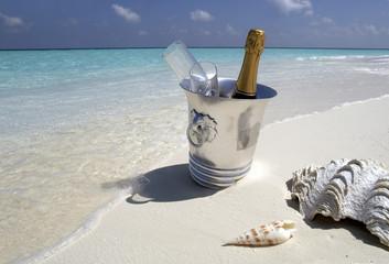 Champagne on a tropical beach - The Maldives