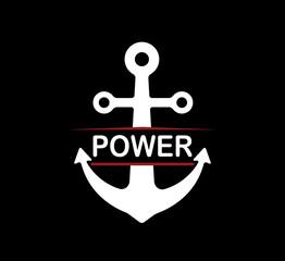anchor retro badge illustration