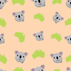 koala cute seamless pattern background