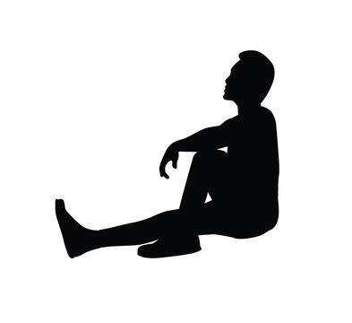 sitting man silhouette illustration design