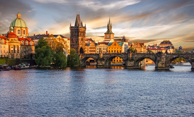 Prague city sunset view, Czech Republic. Panoramic view on Charles bridge