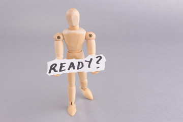 READY  word with standing mannequin