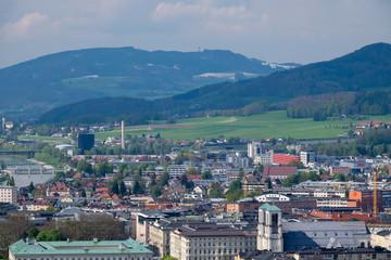 Sky view Salzburg city background mountain Alps