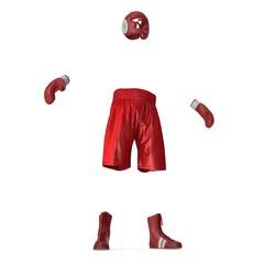 Boxer Red Suit on white. 3D illustration