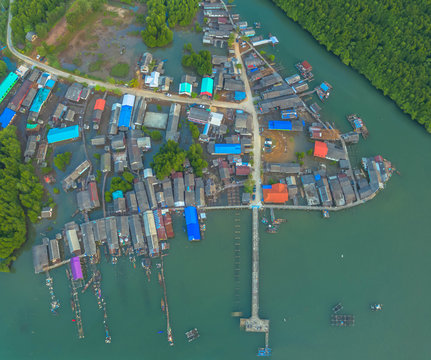aerial view at the old fishing village during high tide