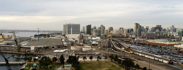 Railyards Docks Port of San Diego Califonia Downtown City Skyline