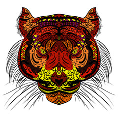 Tiger head Colored hand drawn zentangle design.