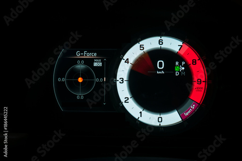 G Force Meter Tachometer And Speedometer In Sports Car Stock Photo