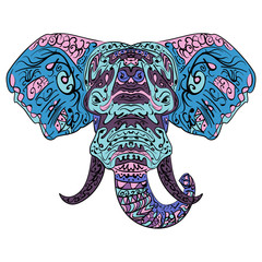 Elephant head Boho zentangle doodles vector