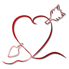 Continuous line drawing red heart