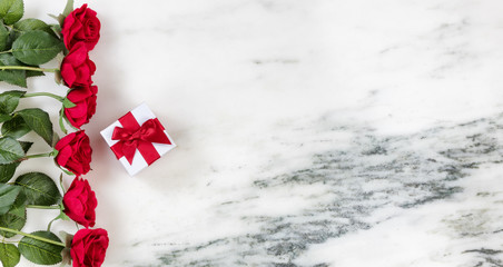 Red Love for the holiday season on marble background