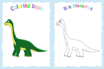 Coloring book page for preschool children with colorful brachiosaurus and sketch to color