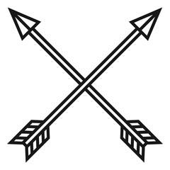 Vector Black Medieval Icon of Crossed Arrows