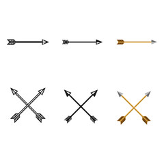 Vector Set of Archery Icons. Single and Crossed Arrows.
