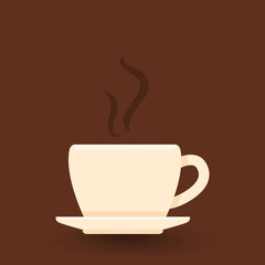 Vector Single Icon of Coffee Cup with Saucer