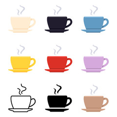 Vector Set of Coffee Cup Icons. Different Styles Pictogram.