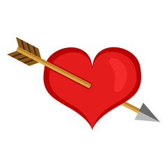 Vector Single Valentine Icon - Heart Pierced with an Arrow