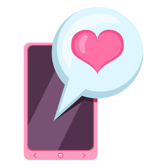 Vector Valentine Icon - Smartphone with a Love Message