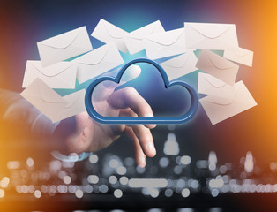 Blue cloud surrounded by realistic envelope email displayed on a futuristic interface - 3d rendering