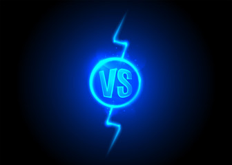 Versus icon. VS letters is into round circle. Lightning bolt on dark background
