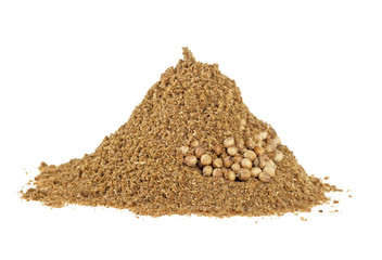 Seeds and powder of coriander spice on white background