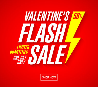Valentine's Day Flash Sale bright banner template. Limited quantities, one day inly