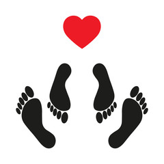vector illustration Sex icon with foot prints