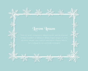Square text frame with copy space and snowflakes. Abstract winter illustration and light blue background.