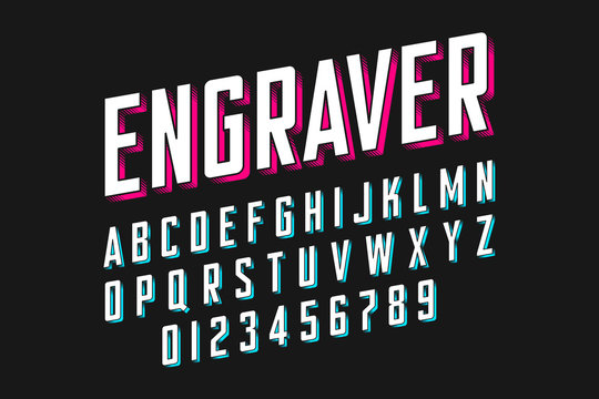 Modern engraved font