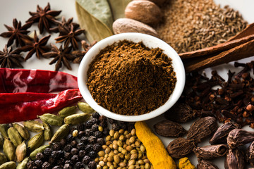 Wall Murals Spices Colourful spices for Garam Masala. Food ingredients for garam masala, indian spice mix with Powder. Selective focus