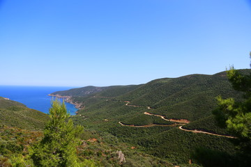 panoramic view of the mountains and the ocean of Halkidiki Sithonia