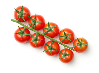 Cherry Tomatoes on Branch Isolated on White Background