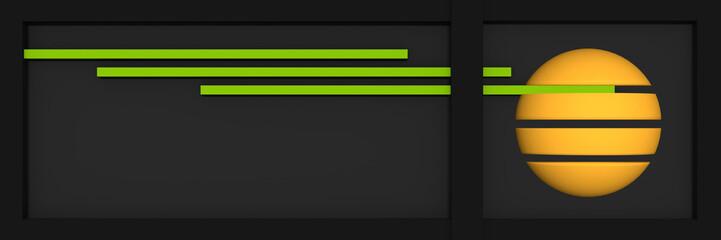 Header/Banner für die Website mit Linien, Kugel und Kastenform in schwarz, apfelgrün. gelb und grau.