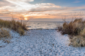 Baltic Sea and sand dunes on the beach. Poland.