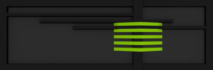 Header/Banner für die Website mit klaren Linien und Kastenform in schwarz, apfelgrün und grau.