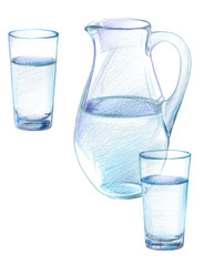 An image of a glass jug and two glasses of drinking water. Drawing with colored pencils