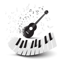 Piano Keys and Guitar with Notes