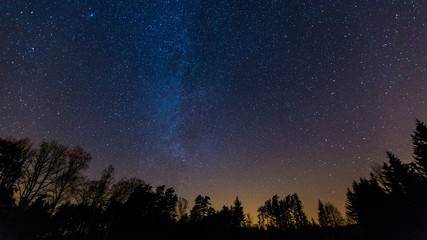 Starry night sky with Milky way over forest. Natural night landscape.