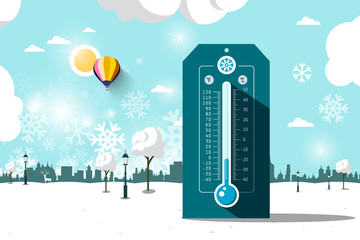 Cold Weather Symbol. Vector Frozen Park. Flat Design Winter Landscape with Thermometer.