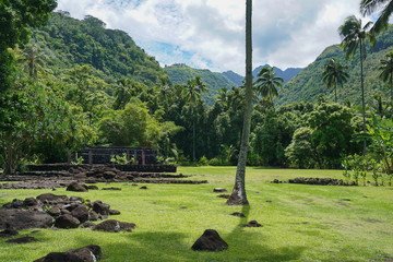 French Polynesia the marae Arahurahu in a valley of Tahiti island, south Pacific, Oceania
