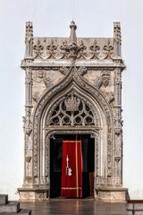Main entrance to the Church of St. John the Baptist in Tomar, Portugal